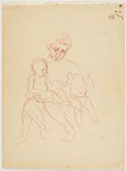 Alternate image of recto: (Study of native nursing a child) verso: (Native mother and two children) by Nora Heysen