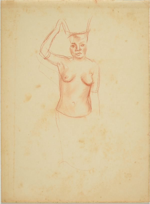 An image of (Partial study of female native carrying a basket on her head)