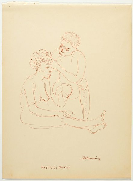 An image of recto: Delousing - Nester and Namoi verso: Gwakena by Nora Heysen
