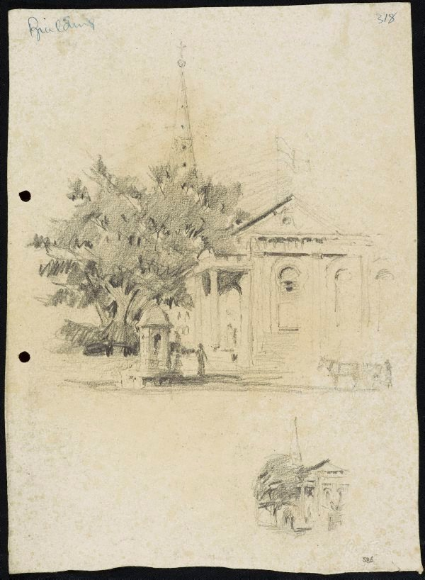 An image of recto: St James' Church verso: Small study of the Comrie fountain