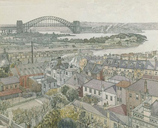An image of Harbour Bridge from Potts Point by Sydney Ure Smith