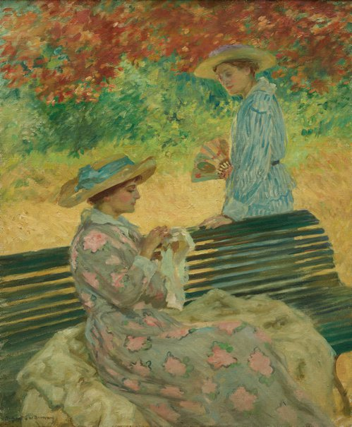 An image of The garden bench by Rupert Bunny