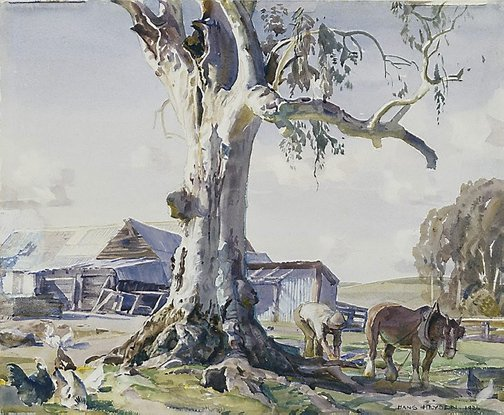 An image of The farmyard gum by Hans Heysen