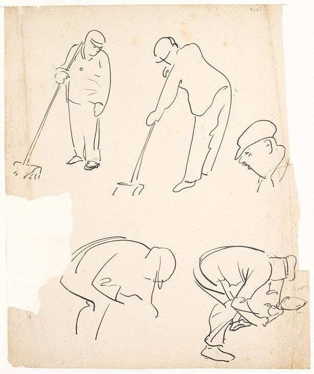 An image of (Figure studies, men sweeping) (London genre)