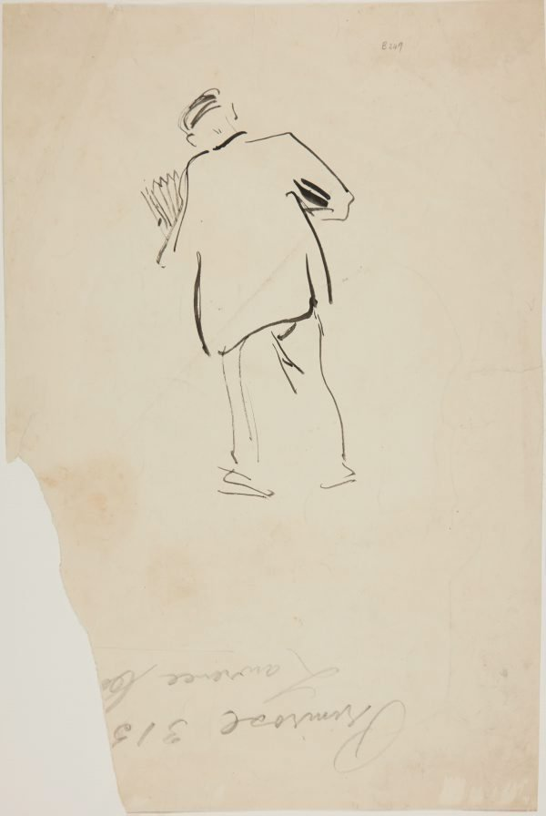 An image of (Man with newspapers rear view) (London genre)