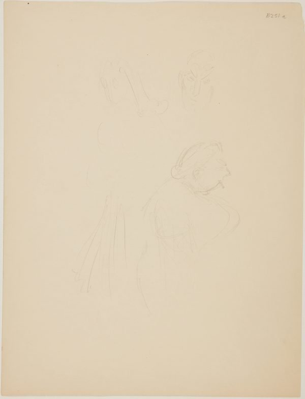 An image of (Studies of figures; woman with cigarette) (London genre)