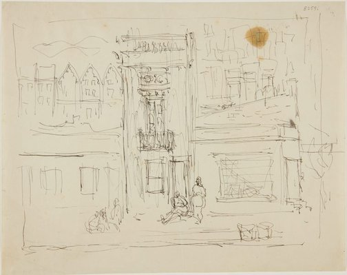 An image of (Building facade and street scene) (London genre) by William Dobell