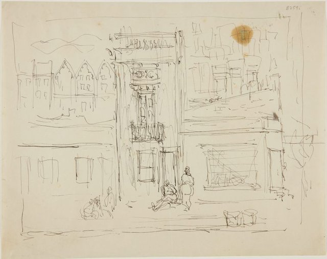 An image of (Building facade and street scene) (London genre)