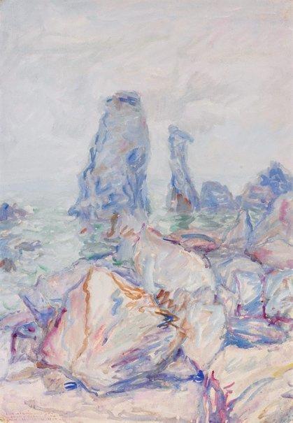 An image of Les aiguilles de Coton, Belle-Île by John Russell
