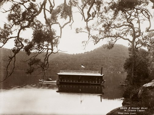 An image of A house-boat in Cowan Creek by Unknown, Kerry & Co