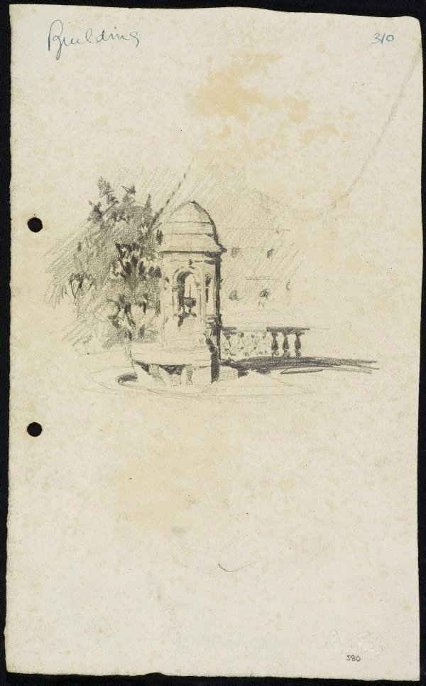 An image of recto: The Comrie Fountain in front of St James' Church verso: The tree beside St James' Church