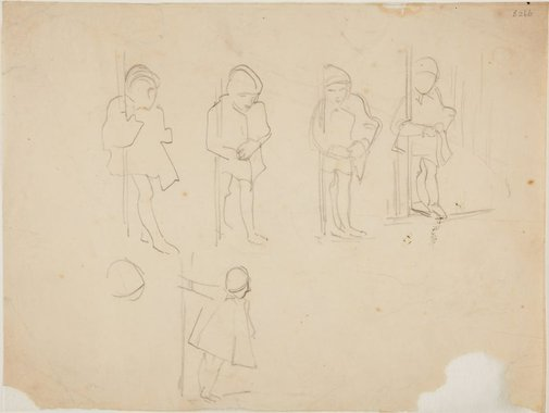 An image of (Studies of child holding onto pole) (London genre) by William Dobell