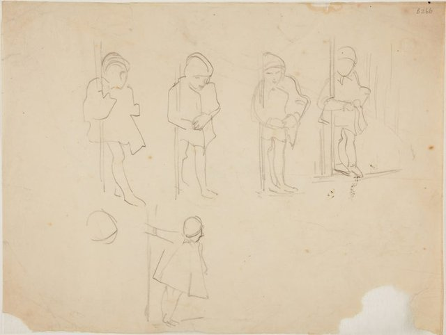 An image of (Studies of child holding onto pole) (London genre)