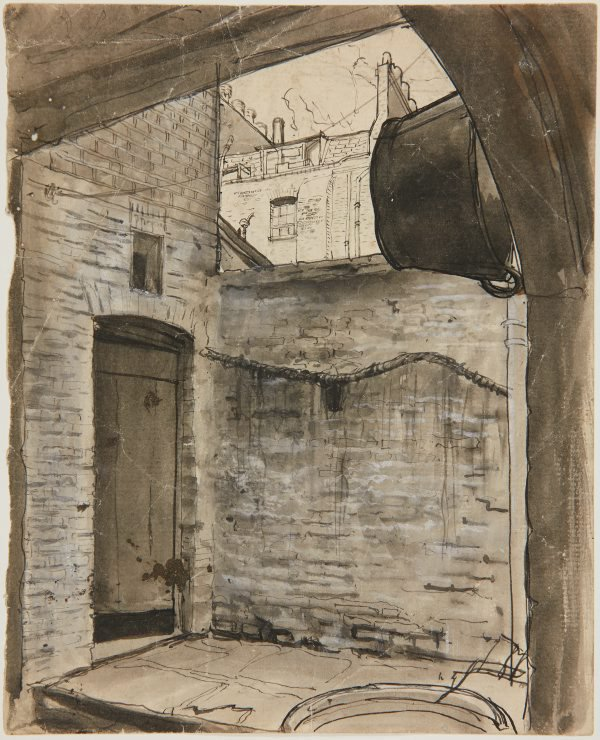 An image of (Back door with tub and building facade) (London genre)