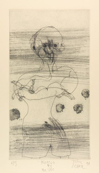 An image of Picasso by the sea by John Olsen