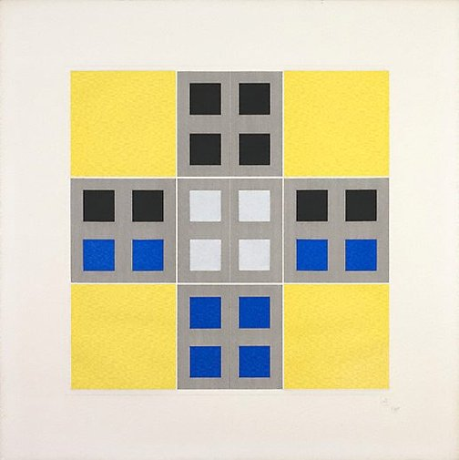 An image of (Yellow, black, blue) by Jesus-Rafael Soto