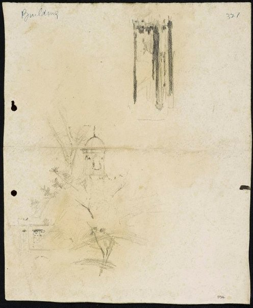 An image of recto: Comrie fountain and tree in front of St James and Street scene [upside down] verso: Along George Street to Queen Victoria Building [twice] and St James with fountain [faint, upside down] by Lloyd Rees