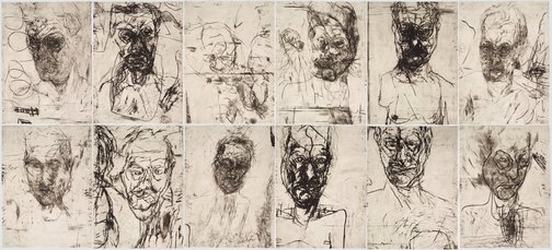 An image of 12 untitled self portraits (set 2) by Mike Parr, John Loane