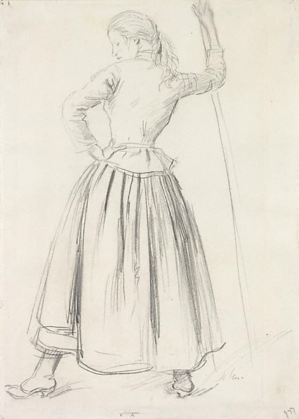 An image of A young woman standing, seen from behind by Augustus John OM