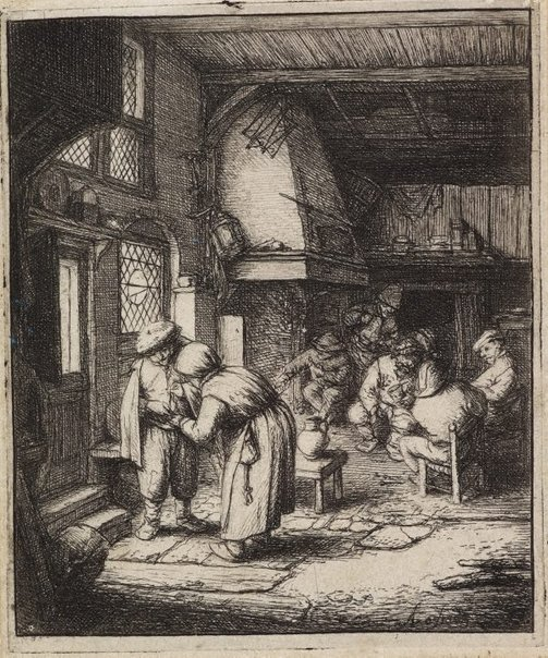 An image of The peasant settling his debt by Adriaen van Ostade