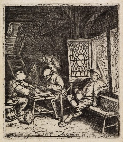An image of The backgammon players by Adriaen van Ostade
