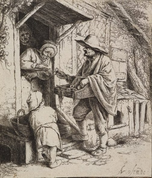 An image of The spectacle seller by Adriaen van Ostade
