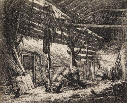 An image of The barn by Adriaen van Ostade