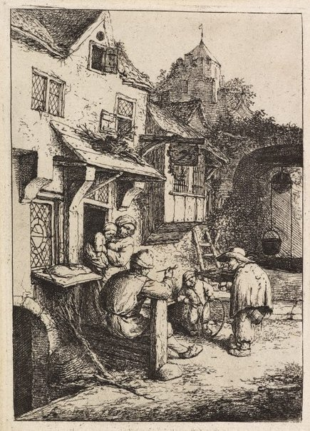 An image of The hunchbacked fiddler by Adriaen van Ostade