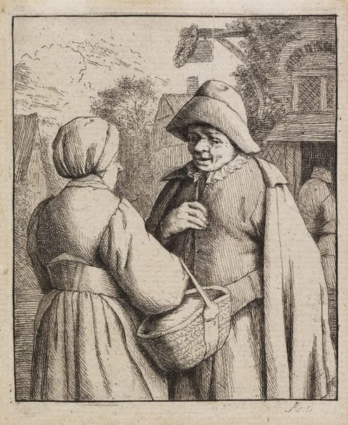An image of Man and woman conversing by Adriaen van Ostade