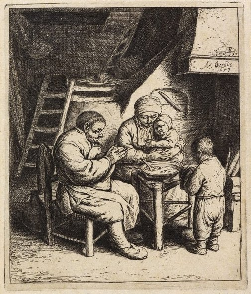 An image of Saying Grace by Adriaen van Ostade
