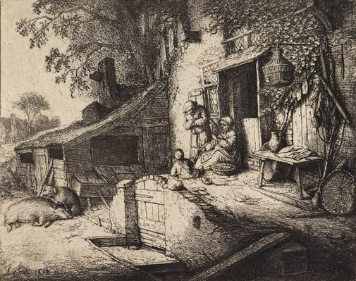 An image of Woman spinning by Adriaen van Ostade