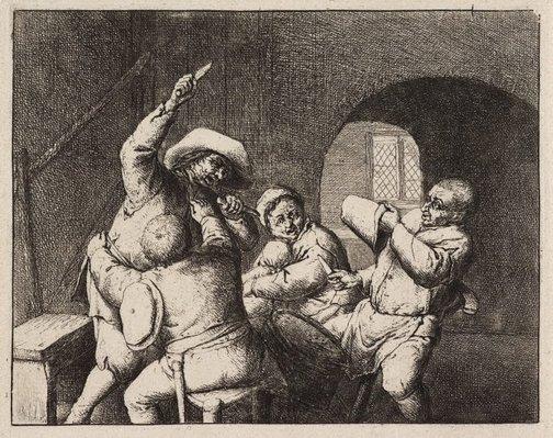 An image of The peasants' quarrel by Adriaen van Ostade
