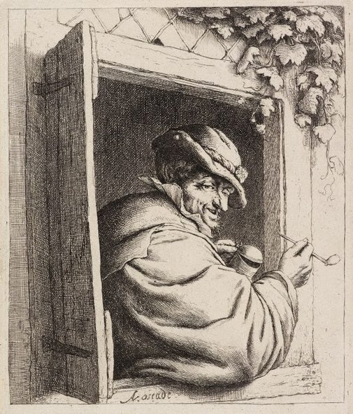 An image of The smoker at the window by Adriaen van Ostade