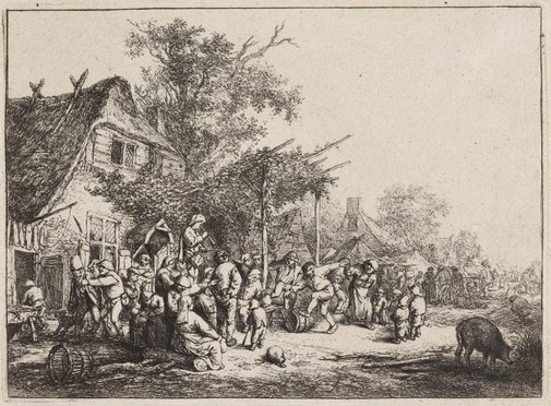 An image of The dance under the trellis by Adriaen van Ostade