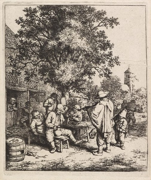 An image of The fiddler and the hurdy-gurdy boy by Adriaen van Ostade