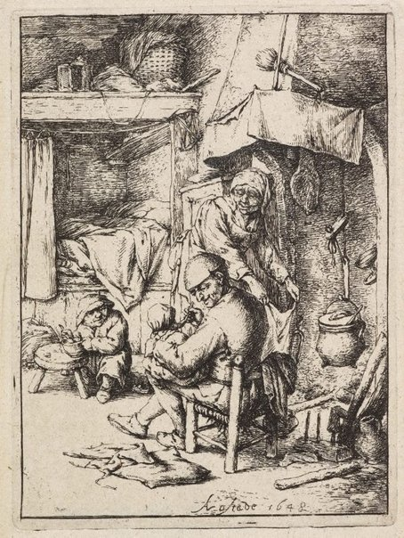 An image of The pater familias by Adriaen van Ostade