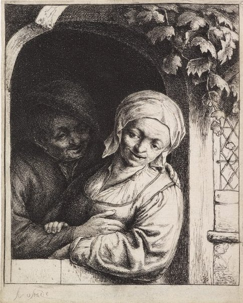 An image of Village romance by Adriaen van Ostade