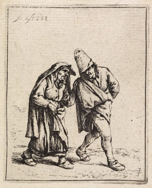An image of The couple walking by Adriaen van Ostade