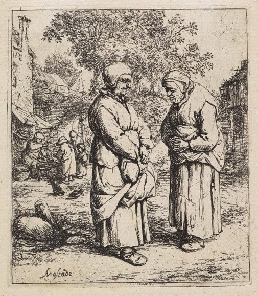 An image of The two gossips by Adriaen van Ostade