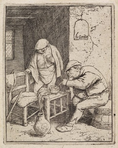 An image of The smoker and the drinker by Adriaen van Ostade