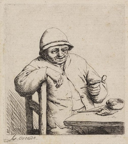 An image of Smoker leaning on the back of a chair by Adriaen van Ostade