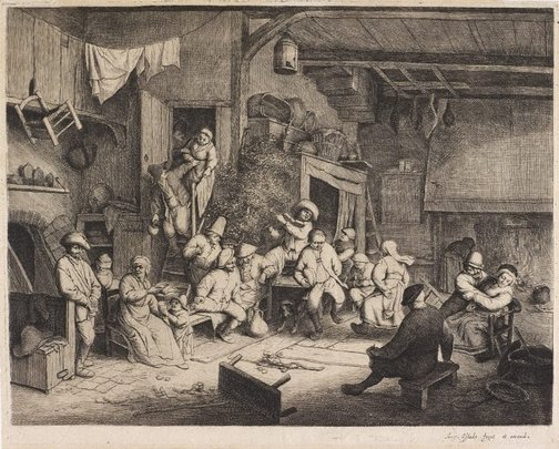An image of The dance in the inn by Adriaen van Ostade