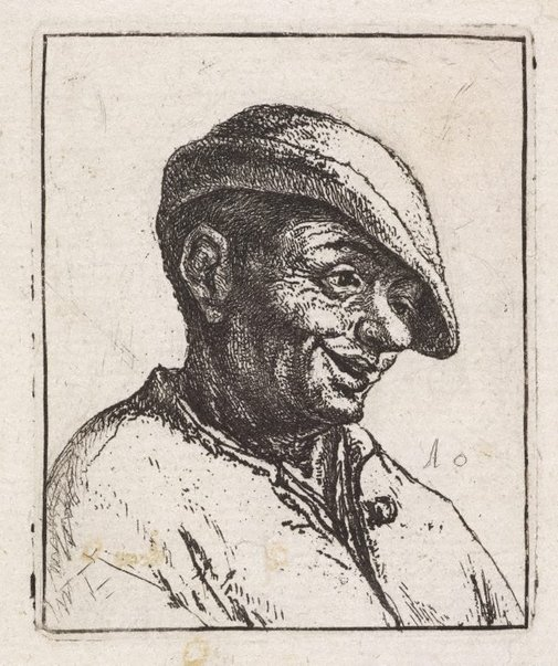 An image of Bust of a laughing peasant by Adriaen van Ostade