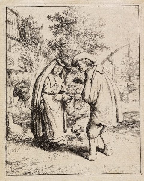 An image of Man and woman talking by Adriaen van Ostade