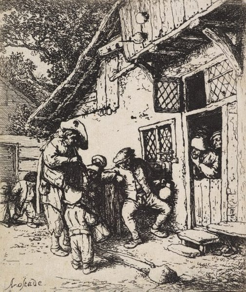 An image of The wandering musicians by Adriaen van Ostade