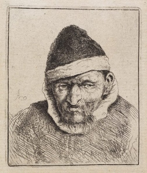 An image of Peasant in a pointed fur cap by Adriaen van Ostade