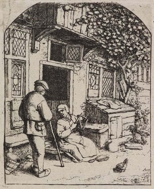 An image of The woman winding upon a reel by Adriaen van Ostade