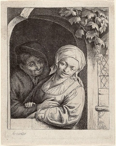 An image of Village romance by Adriaen van Ostade