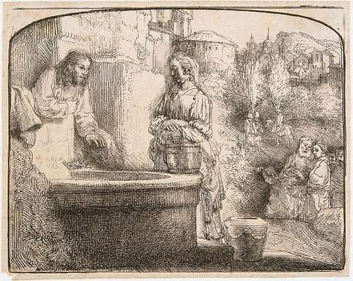An image of Christ and the woman of Samaria by Rembrandt Harmensz. van Rijn