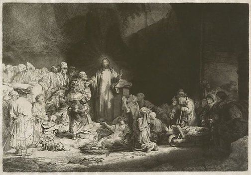 An image of Christ with the sick around him, receiving little children by Rembrandt Harmensz. van Rijn, Captain William Baillie